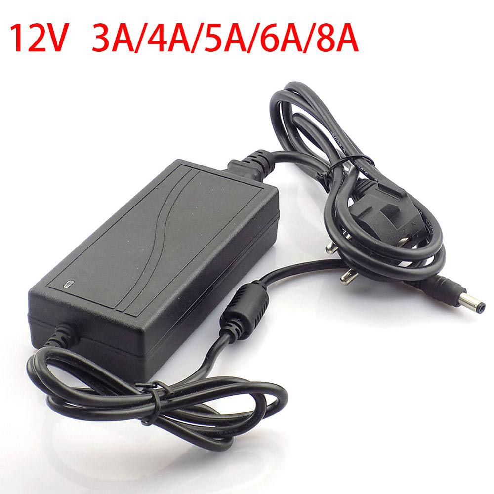 LED Power Adapter Supply Charger AC DC 240V <font><b>12V</b></font> 3A 4A 5A 6A 8A US EU Plug 5.5mm x 2.5mm Driver <font><b>Adaptor</b></font> For LED Strip Lamp Light image