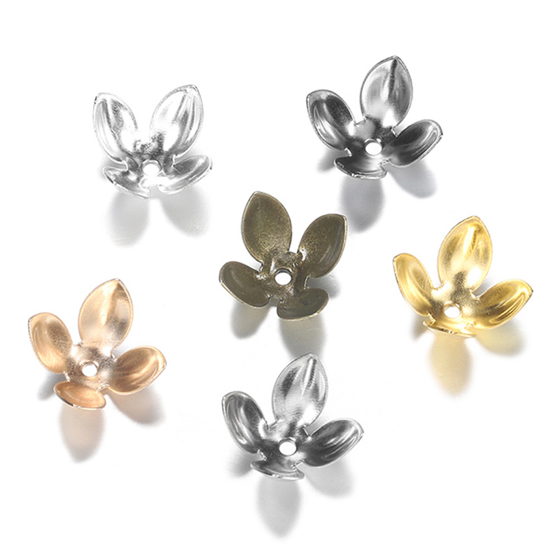 50pc/lot 15*8mm Silver Gold Plated Metal Flower Bead Caps Findings Four Leaves Bulk End Bead Cap For Jewelry Making Supplies DIY