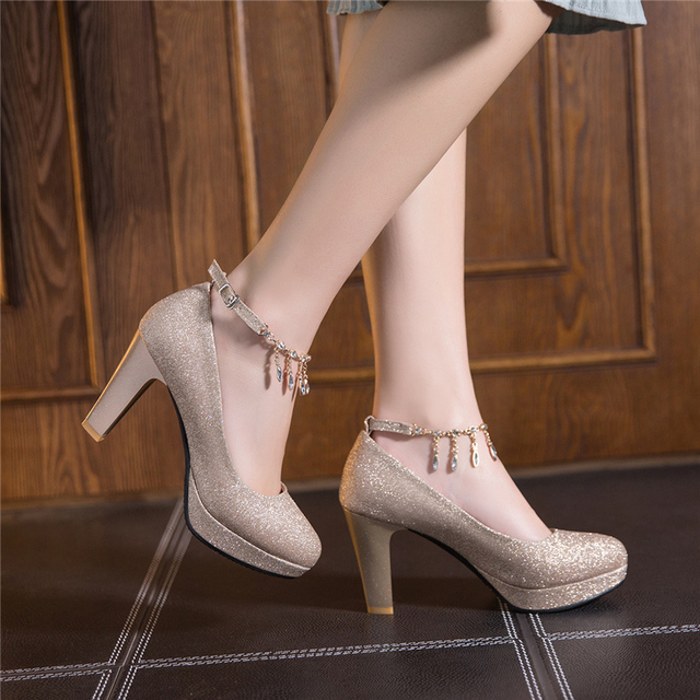 Fashion Female High Heels Sexy Shoes Luxury Gold Silver Pink Women's Heels Pumps Party Office Wedding Shoes New Designer 1