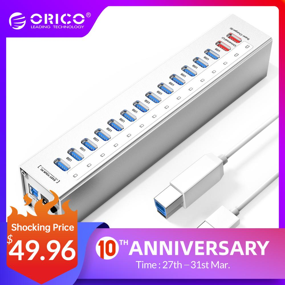 ORICO A3H13P2-SV Aluminum 13 Ports Multi USB3.0 HUB Splitter With 2 Charging Ports 5V2.4A Super Charger / 5V1A Universal Silver