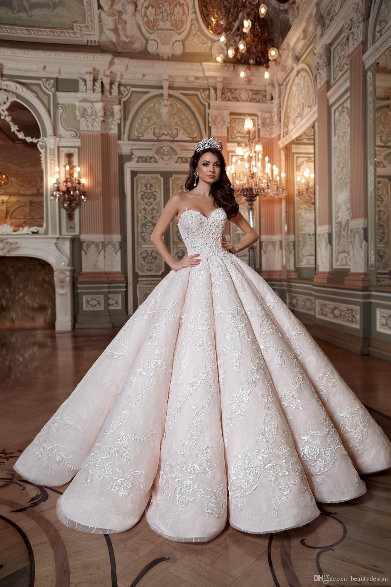 2020 Blush Roze Queen Trouwjurken Sweetheart Hard Satin Floor Lengte Lace Baljurk Custom Made Bruidsjurken - 2