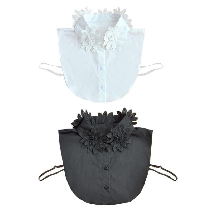 Women Girls Handmade Embroidery Flower Applique Lapel False Fake Collar Classic Solid Color Detachable Chiffon Half-Shirt Blouse