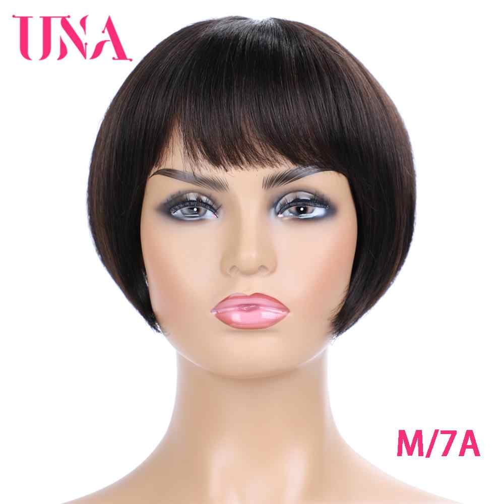 "Short Human Hair Wigs Non-Remy Brazilian Hair BOBO Wig Straight Machine Human Hair Wigs 7A Middle Ratio 8"" 110g 120% Density"