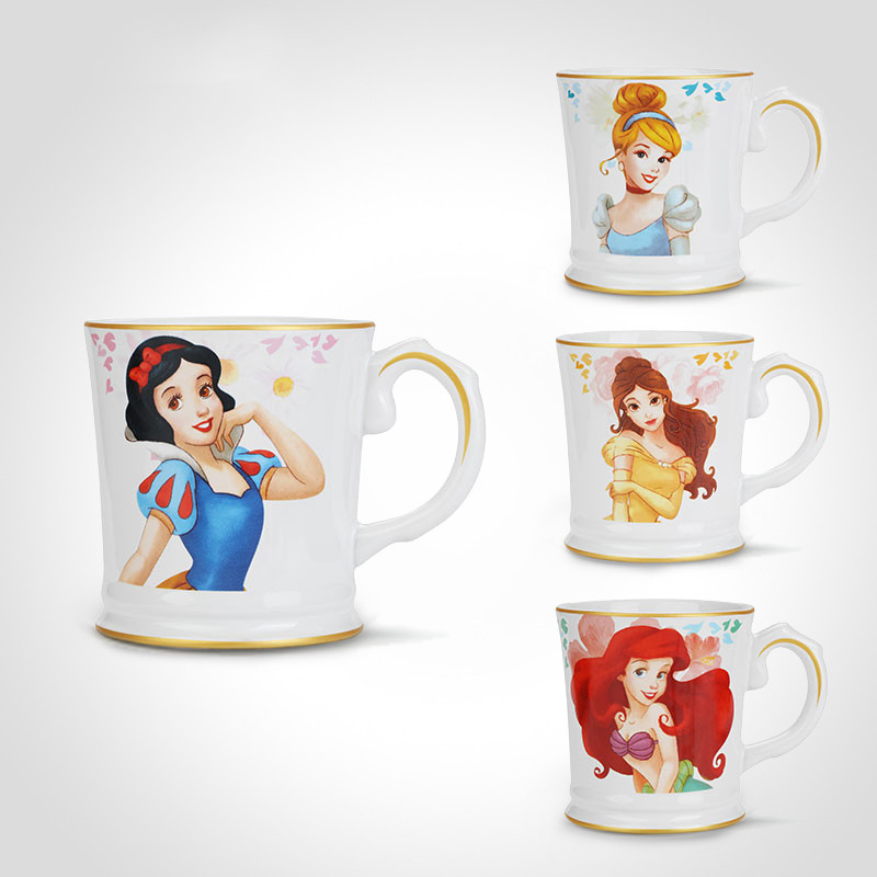 420ml Disney Princess Cartoon Ceramic Water Cup Snow White Little Mermaid Belle Cinderella Mug Home Office Collection Cup Gifts