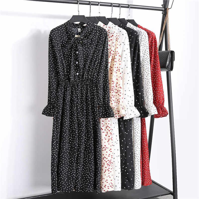 2020 Herfst Koreaanse Stijl Chiffon Lange Jurk Afdrukken Flare Mouw Boog Kraag Slanke Hoge Taille Casual Jurken Femme Vestidos Mujer