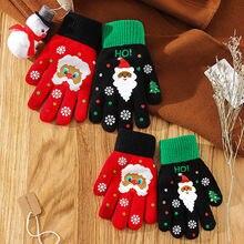 Рождественские перчатки варежки теплые для рук женщин черные