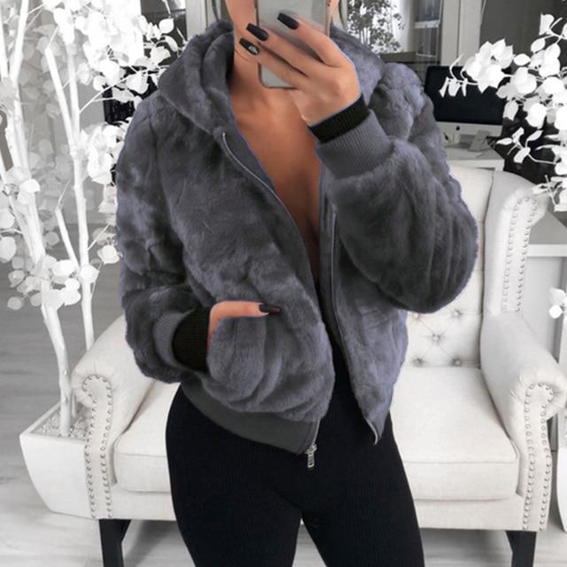 2020 New Faux Fur Women Coat With Hood High Waist Fashion Slim Black Red  Faux Fur Jacket Fake Rabbit Fur Coats 6