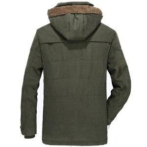 Image 3 - Chaqueta gruesa de lana para hombre, abrigo de invierno, abrigo informal a prueba de viento con capucha, Parkas militares de talla grande 6XL 7XL