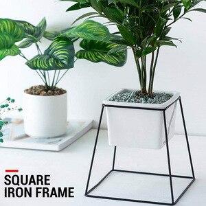 Maceta marco flor soporte maceta hermosa creativa forma cuadrada metálica negro planta decorativa de hogar Hotel titular