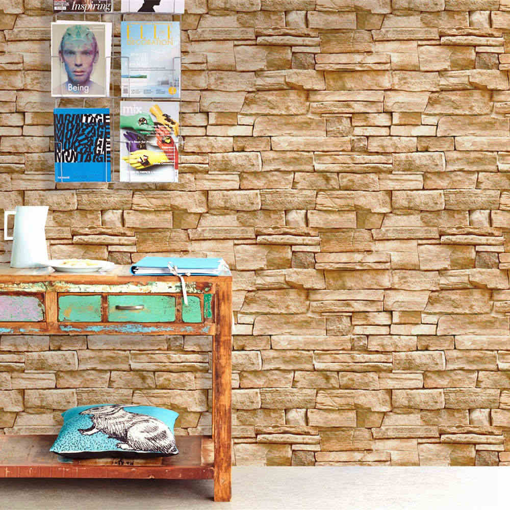 Brown Stone Wallpaper Peel And Stick Wallpaper Self Adhesive Removable Wallpaper Waterproof Paper For Kitchen Wall Home Decor Wallpapers Aliexpress