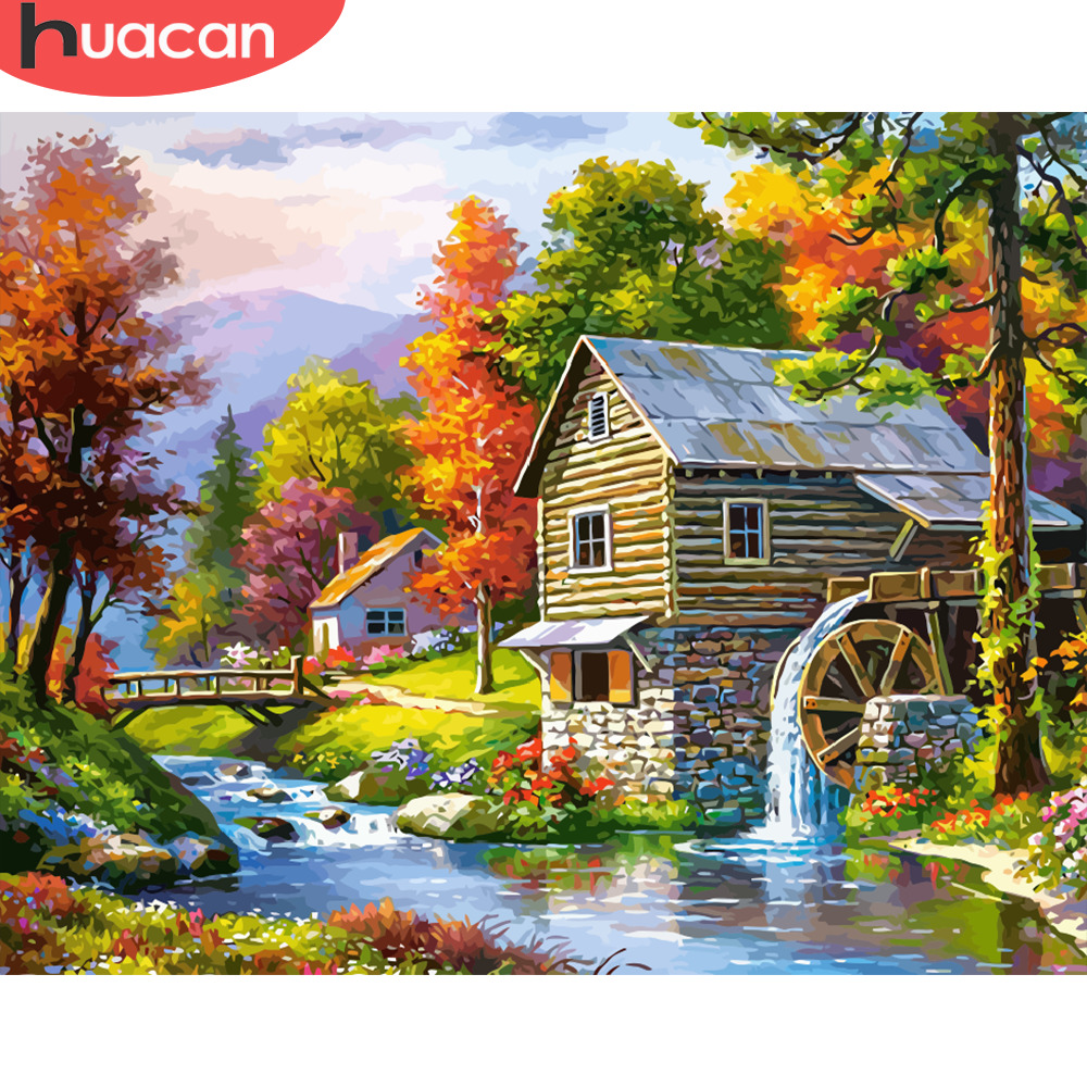 HUACAN Painting By Numbers Scenery Kits Drawing Canvas HandPainted Home Decor DIY Oil Pictures By Numbers Landscape