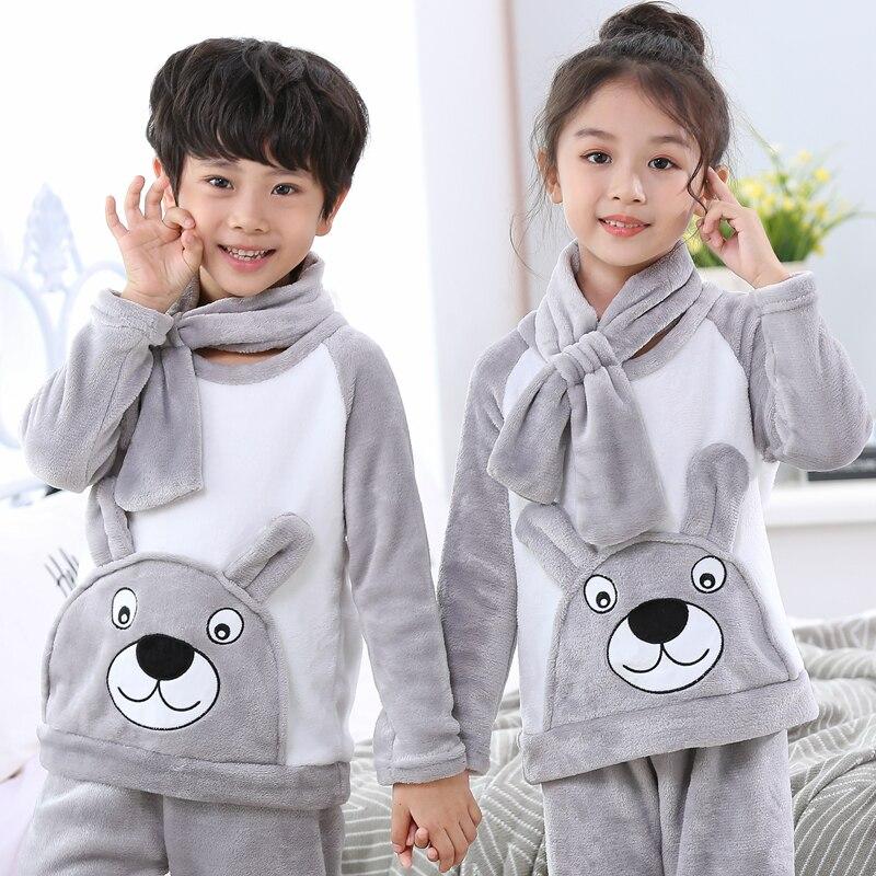 Winter Children Thicken Warm Flannel Pajamas Fleece Girls Sleepwear Coral Fleece Kids Homewear Boy Long Pant Give The Same Scarf