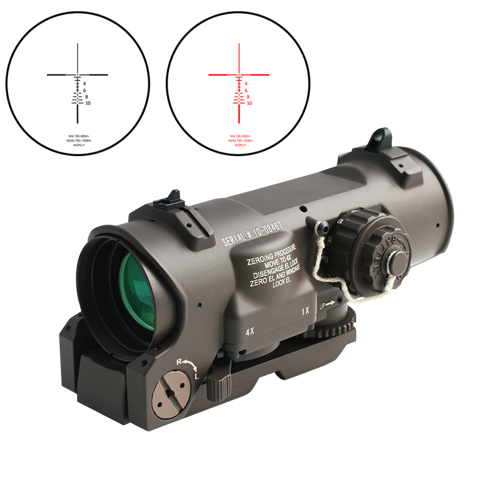 Tactical Rifle Scope 1x-4x Fixed Dual Purpose Scope Red Illuminated Red Dot Sight For Rifle Hunting Shooting With Rubber Covers