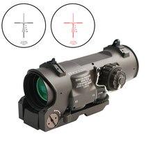 Tactical rifle escopo 1x-4x fixo de dupla finalidade escopo vermelho iluminado ponto vista para rifle caça tiro com tampas de borracha