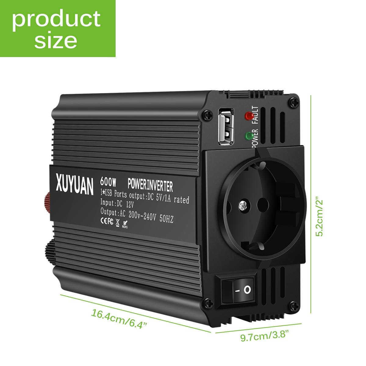 AC 12V A 220V 600W Auto Car Power Inverter Convertitore Adattatore del Caricatore di Potere del Convertitore UE Presa Auto inverter