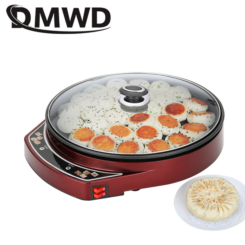DMWD Electric Non-stick Baking Pan Multicooker Crepe Pancake Maker Pizza Spaghetti Barbecue Steak Grill Pan Omelette Frying Pan