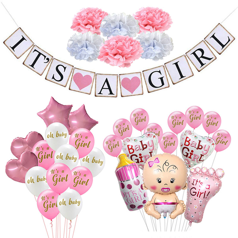 Baby Shower Decorations It's A Boy Girl Banner Gender Reveal Oh Baby Balloon Birthday Party Decorations Kids Supplies(China)