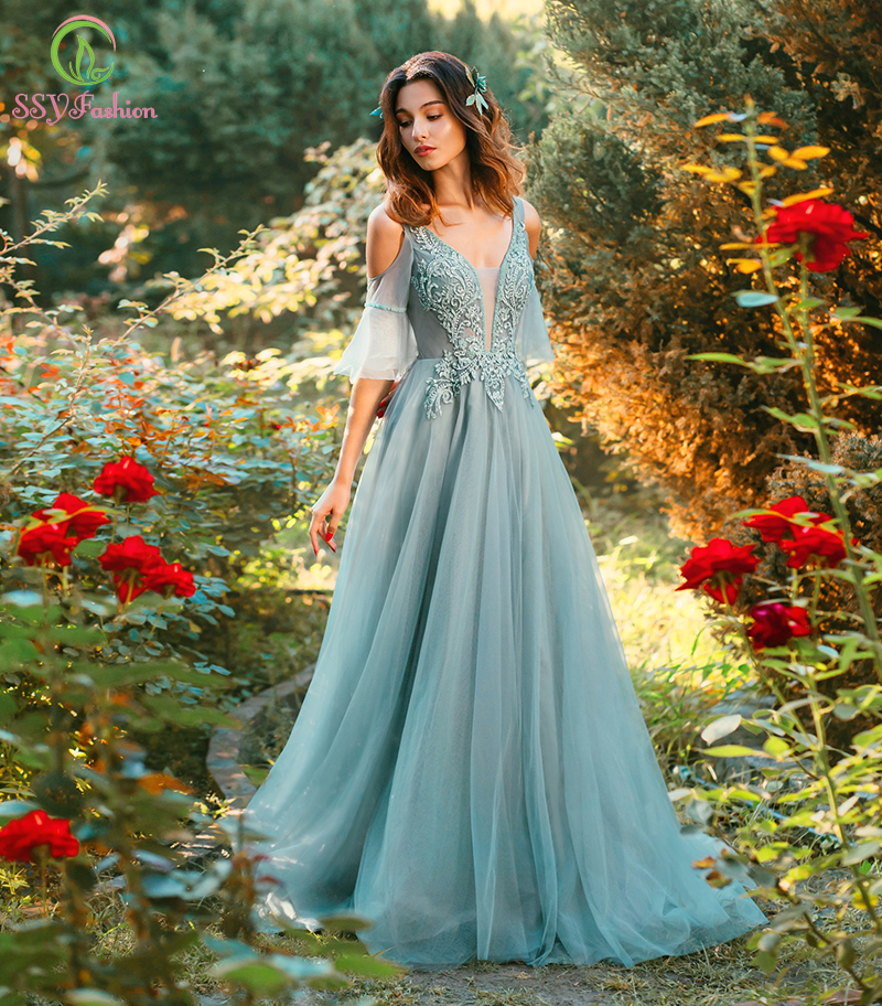 SSYFashion New Beautiful Evening Dress Green V-neck Sweep Train Appliques Sequins Long Prom Formal Gown Custom Robe De Soiree