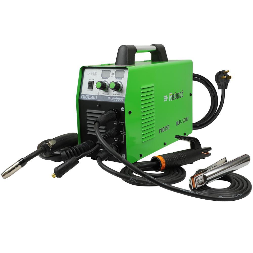 Reboot MIG Welder Gas Gasless Mig150 Welder DC 220V 2 In 1 Flux Core Wire Inverter Welding Machine MMA MIG MAG IGBT Welder
