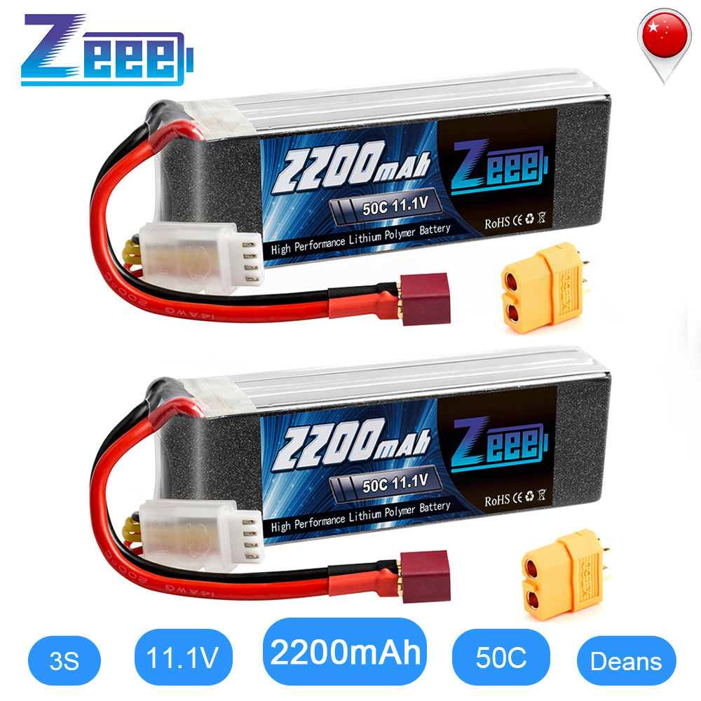 2units Zeee <font><b>LiPo</b></font> Battery 11.1V <font><b>3S</b></font> <font><b>2200mAh</b></font> 50C for RC Car with Deans Plug XT60 Connector For RC Helicopter Drone Boat Airpplane image