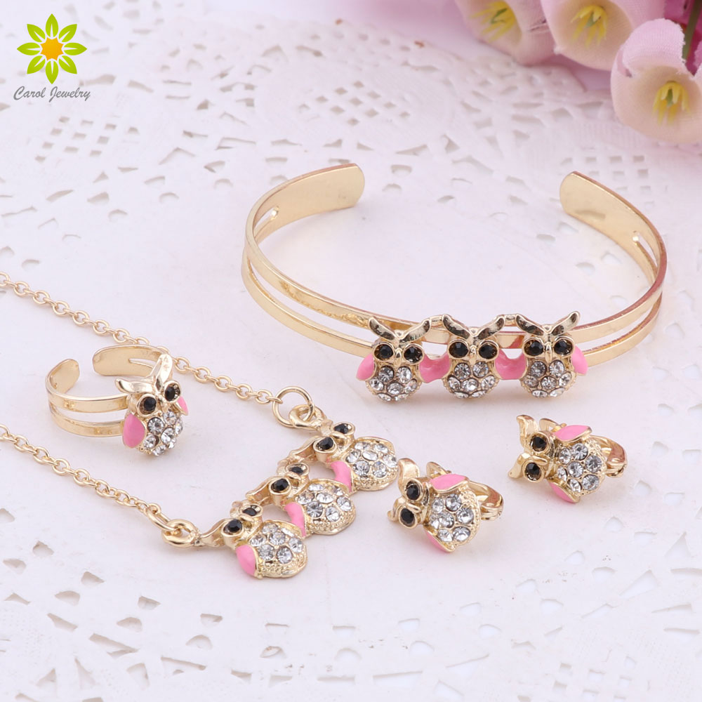 Gold-Color Baby Jewelry Sets Gift Children Cute Owl Pendant Jewelry Sets Kids Jewellery Ring Earrings Bracelet Necklace