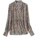 Frauen V ausschnitt Leopard Print Shirt Lose Langarm Weichen Retro Casual Bluse Tops Frühling Sommer Kleidung