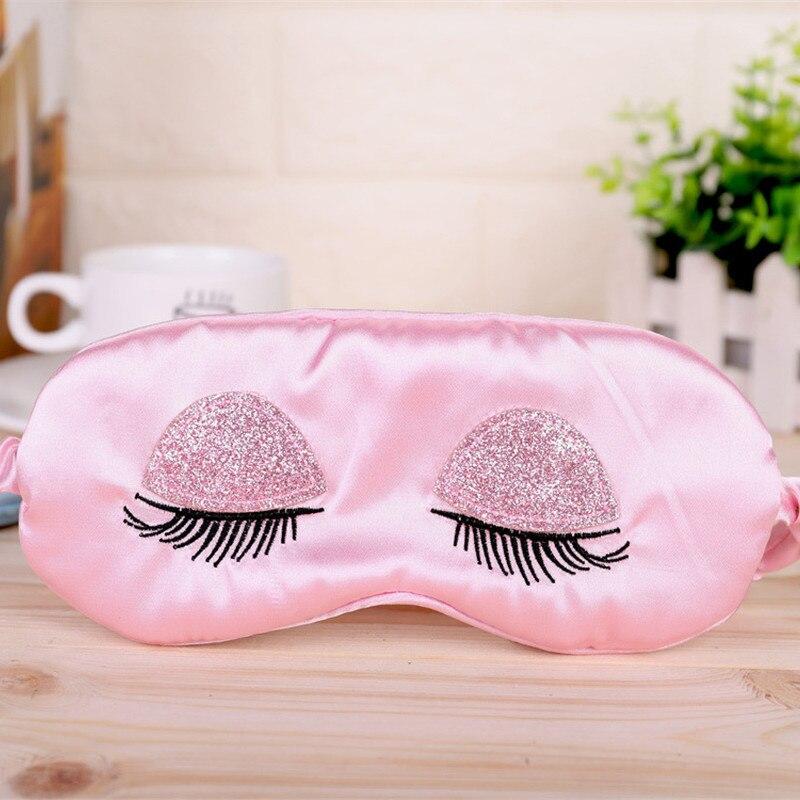 Шелк сна маска для глаз шелковая маска мягкий тенты Чехлы вышивка ресниц шикарная розовая путешествия отдыха помощь вслепую розовый сон, сп...