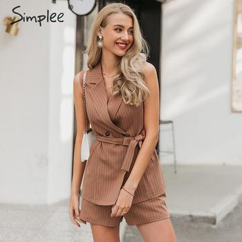 Simplee Elegant sleeveless blazer vest suit Striped sash belt female jacket shorts set Double breasted spring summer women sets 1