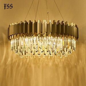 Image 4 - FSS nowa nowoczesna kryształowa chromowana prostokątna żyrandol do jadalni sypialnia okrągłe żyrandole oświetlenie do salonu oprawy
