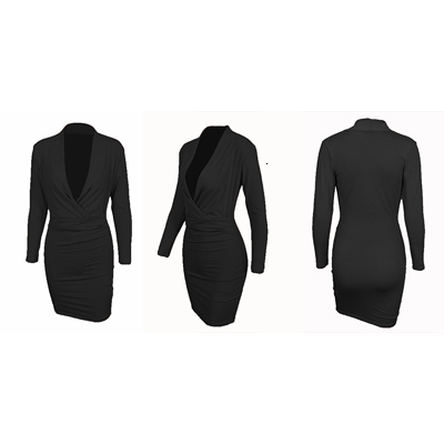 Deep V Neck Sexy Dress Women Long Sleeve Bodycon Elegant Midi Office Dress Autumn Winter Solid Warm Female Evening Party Dresses 7