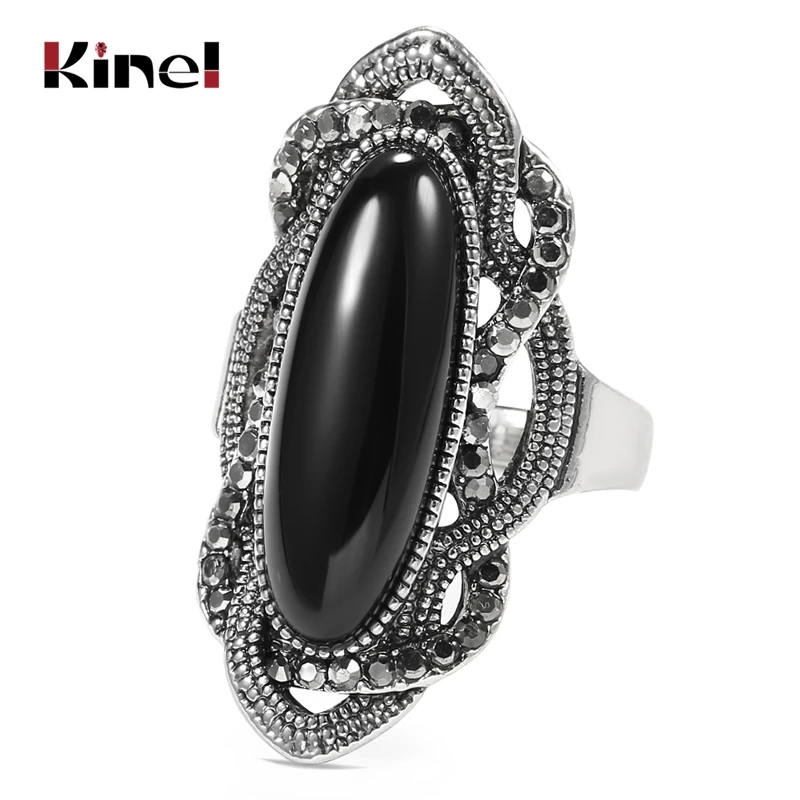 Kinel Top Quality Bohemian Black Stone Ring Silver Color Mosaic AAA Gray Crystal Big Oval Rings For Women Vintage Jewelry