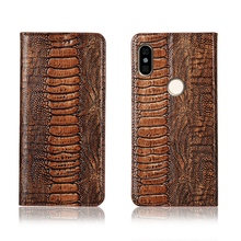 Genuine real leahther ostrich foot pattern phone bag for Redmi Note 5 Pro/Redmi Note 6 Pro flip case card slot holder flip capa ostrich pattern genuine leather case card slot holder phone bag for xiaomi redmi note 6 pro redmi note 5 pro flip phone cover