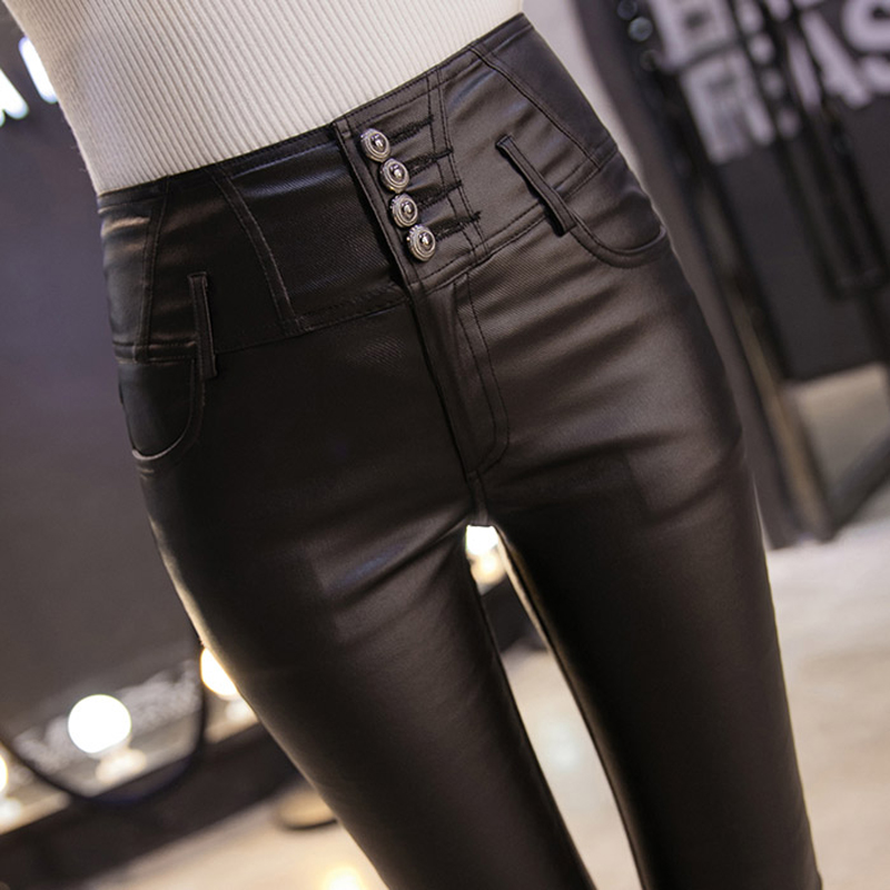Winter Warm Women Pants Dropshipping Female PU Leather Velvet Trousers Elastic Pencil Skinny Pants Women's Tight Pants