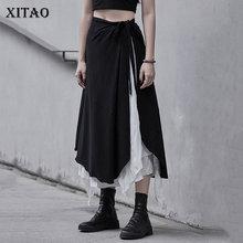 Asymmetrical Skirt Bandage Splicing Elastic-Waist Fashion Women XITAO Casual ZXR1469