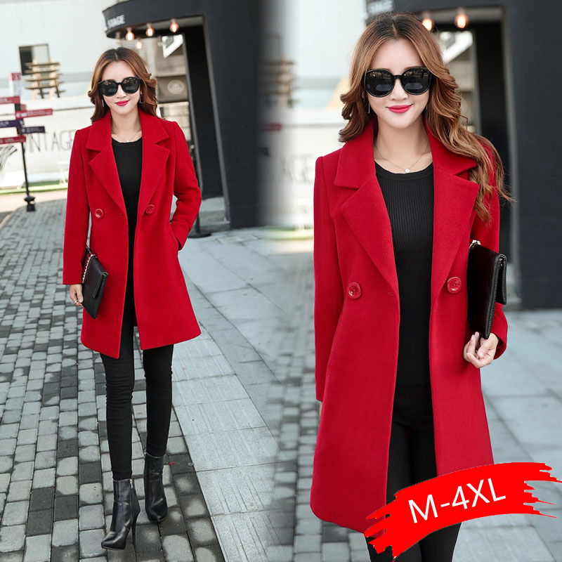 Autumn Winter Jacket Women Overcoat Wool Coat Suits Plus Size 3xl 4xl Large Big Long Black Slim Blend Clothes Outerwear