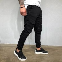 Casual Joggers Pants Solid Color Men Cotton Elastic Long Trousers pantalon homme Military Army Cargo Pants Men Leggings 10.21(China)