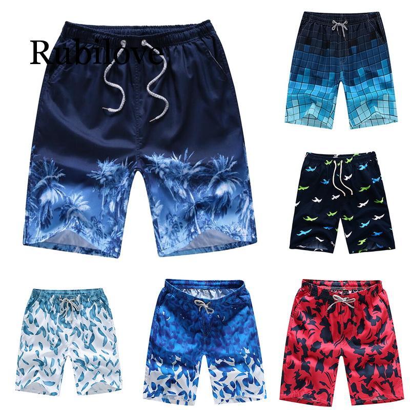 Summer Men Women Board Shorts Printed Unisex Beach Trunks Quick Dry Boardshorts Loose Drawstring Casual Couple Shorts