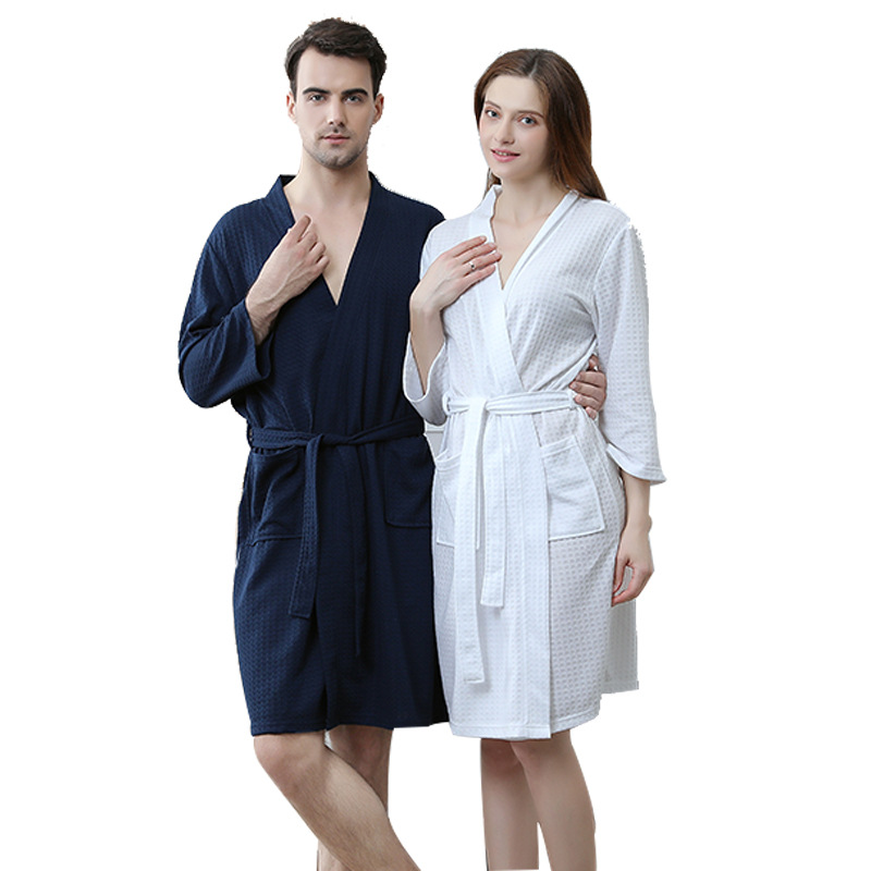 2019 Summer Newest Style Large Size Waffle Fabric Robes Beauty Couple Gowns Multi Colors M,xl,xxxl Plus Size Women