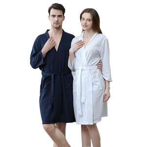 2020 Summer Newest Style Large Size Waffle Fabric Robes Beauty Couple Gowns Multi Colors M,xl,xxxl Plus Size Women(China)