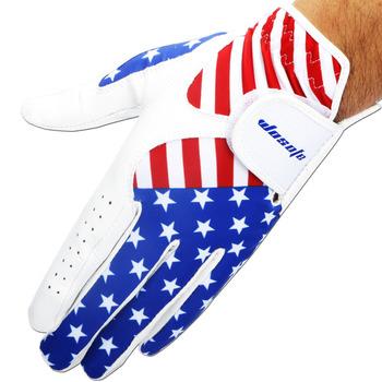 Rękawica golfowa mężczyźni lewa flaga ameryki Cabretta skóra miękka oddychająca Outdoor sport rękawica darmowa wysyłka tanie i dobre opinie wosofe Other