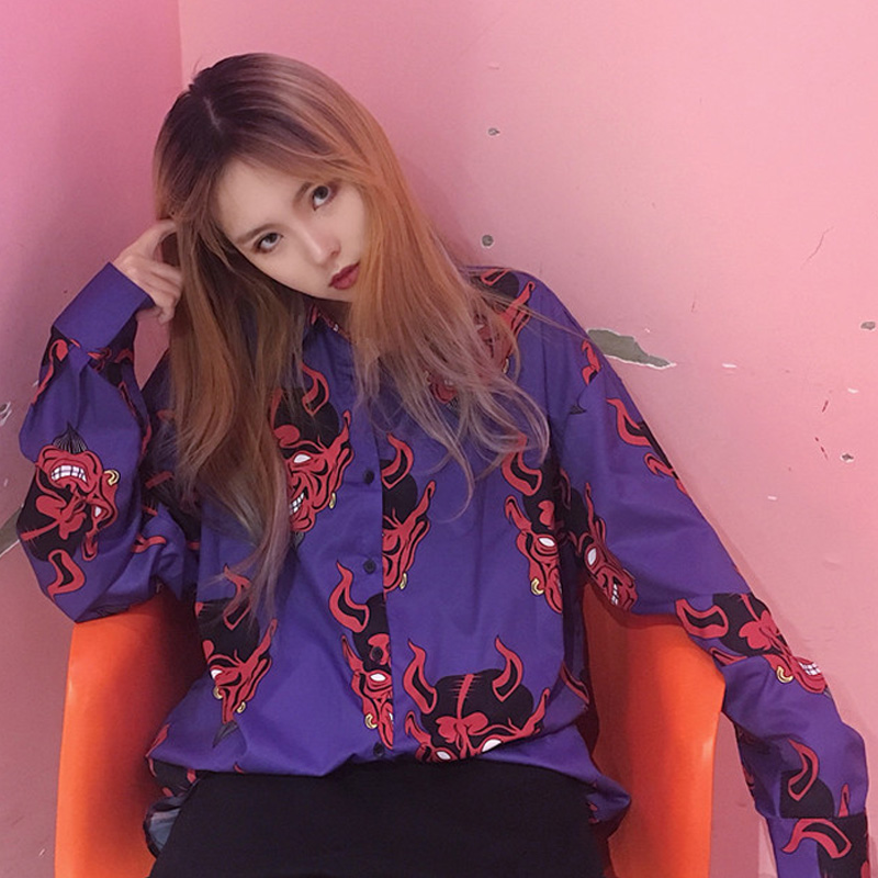 Harajuku Shirt Blusas Female Ulzzang Long Sleeve Women Blouse Spring Autumn Loose Gothic Devil Print Blouses Korean Womens Tops