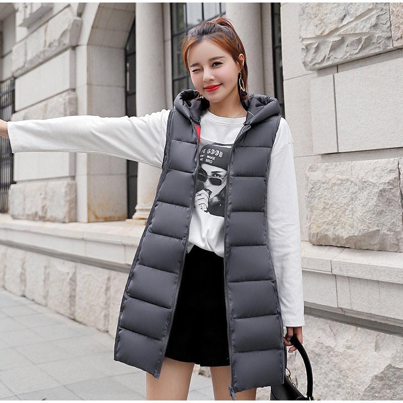 novo colete longo algodão acolchoado jaqueta sem