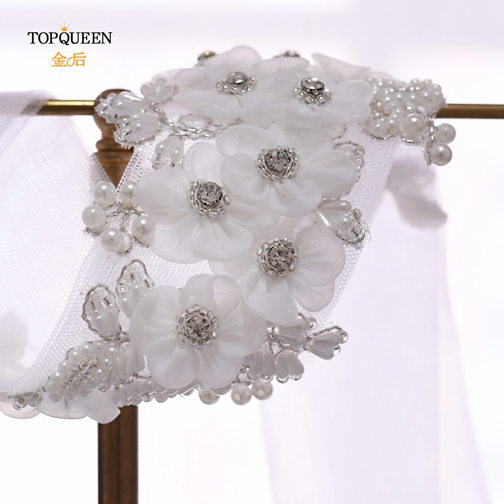 TOPQUEEN WS355 Ribbon 1.6m Long Veil  White Flower Wedding Veils Headband  Elegant Style Headpieces Wedding Hairpiece  For Bride