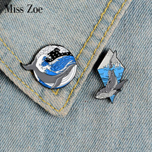 Whale and Ocean Enamel Pins Custom Marine Animal Brooches Lapel Pin Shirt Bag Deep Sea Badge Freedom Jewelry Gift for Friends