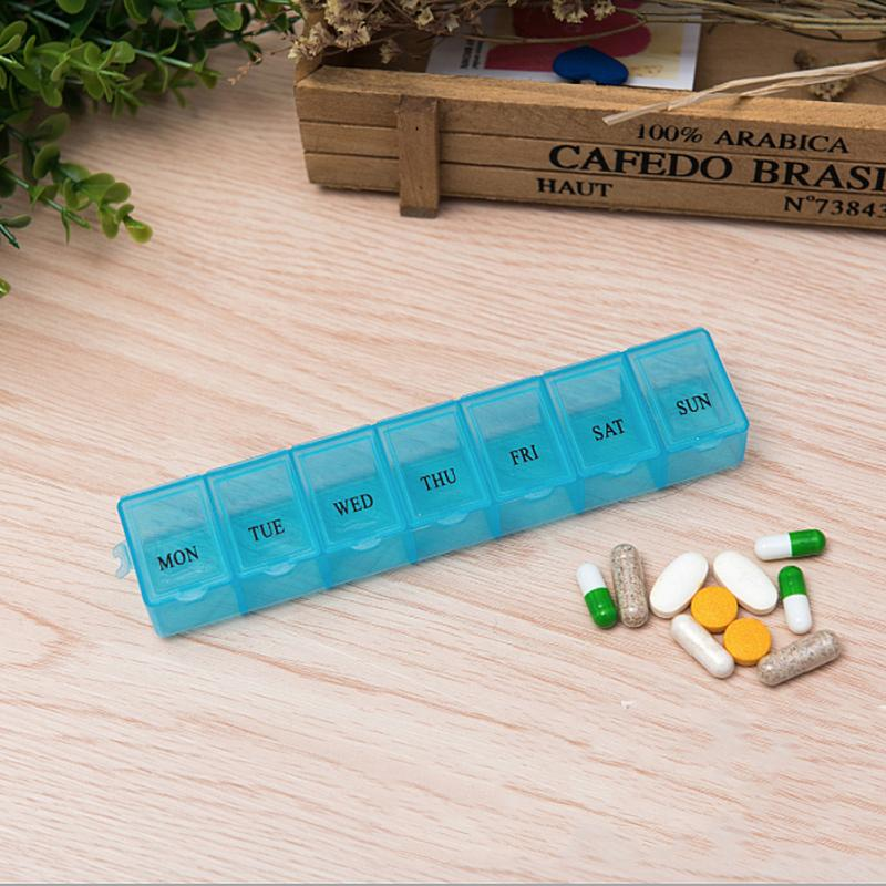 7 Day Weekly Drugs Sorter Container Tablet Drugs Storage Box Medicine Holder Container Organizer  Pillbox Sorter 14 Slots
