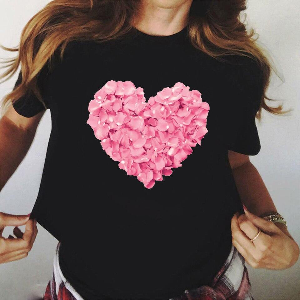 ZOGANKIN Rosa Coração Da Flor de Impressão Mulheres Preto Camiseta de Algodão Ocasional do Verão Camisa Nova Moda T 90s Yong Menina Cobre