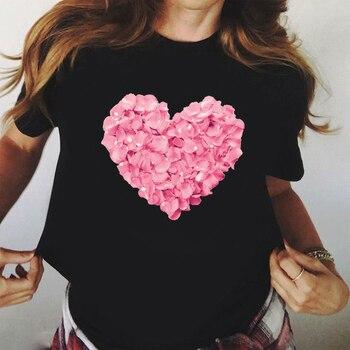ZOGANKIN, camiseta negra de algodón con estampado de flores y corazón rosa, novedad de verano, camiseta a la moda, camisetas de chica 90s Yong