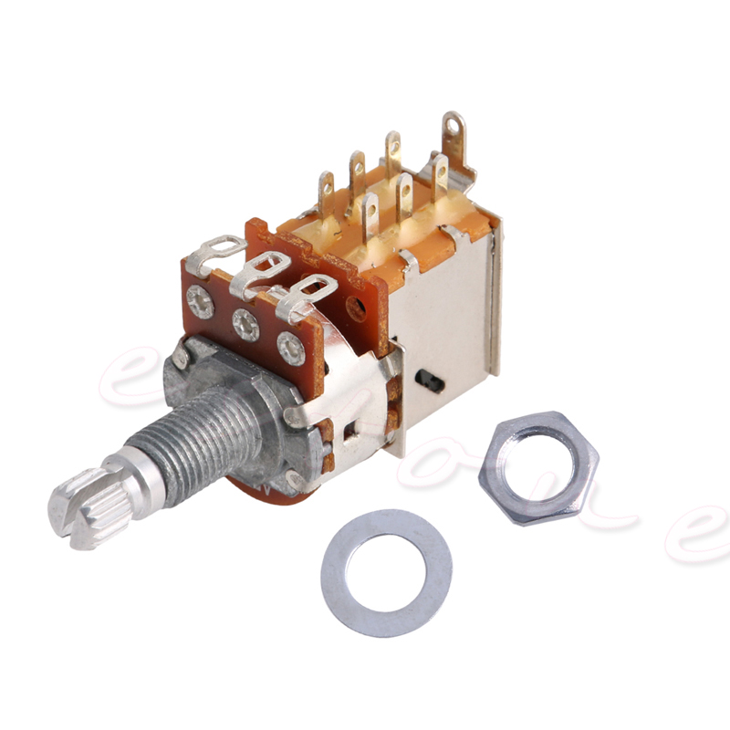 A500K Potentiometer Push Pull Switch Splined DPDT Pot Shaft18mm Electric Guitar Tone Volume Parts Y4UB
