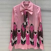 Women Office Silk Print Blouse Tops Fashion Long Sleeve Blouse Shirt For Women High Quality