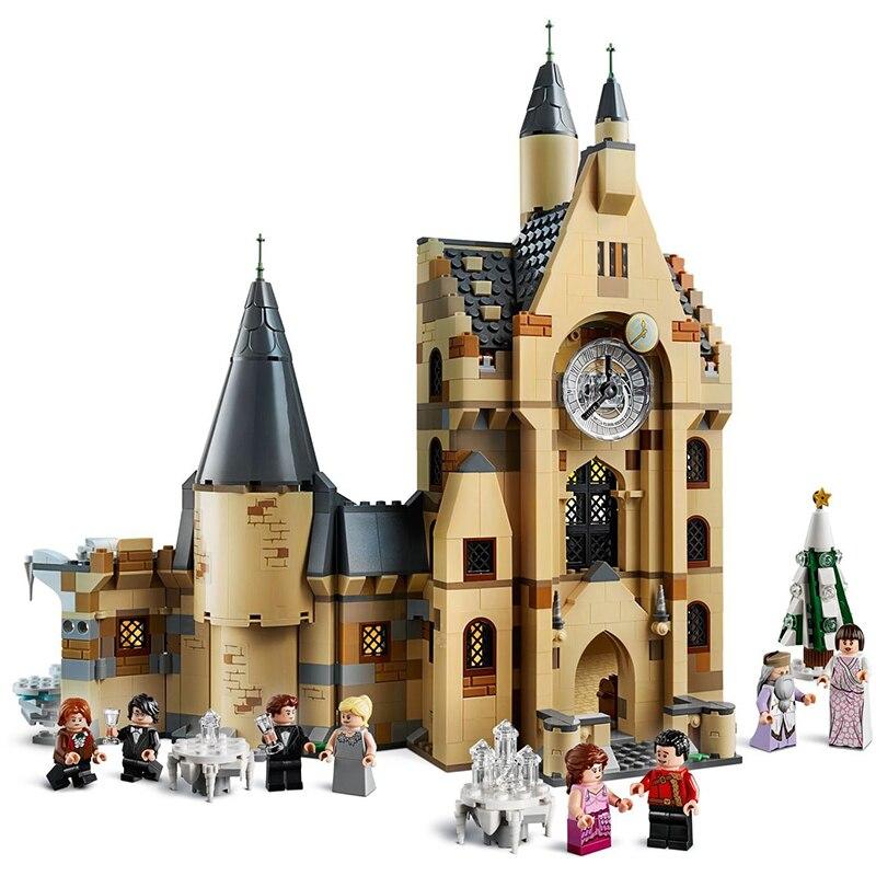 New 900PCS Harri Clock Tower Castle Villa House Potters Figures Fit Legoinglys Model Building Blocks Bricks 75948 Kids Toy Gift